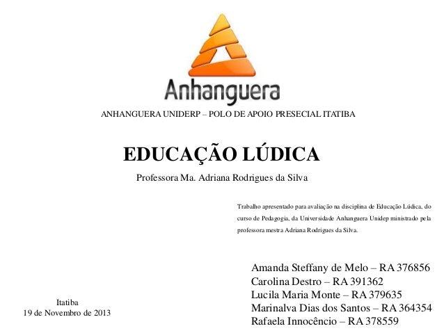 ANHANGUERA UNIDERP – POLO DE APOIO PRESECIAL ITATIBA Amanda Steffany de Melo – RA 376856 Carolina Destro – RA 391362 Lucil...