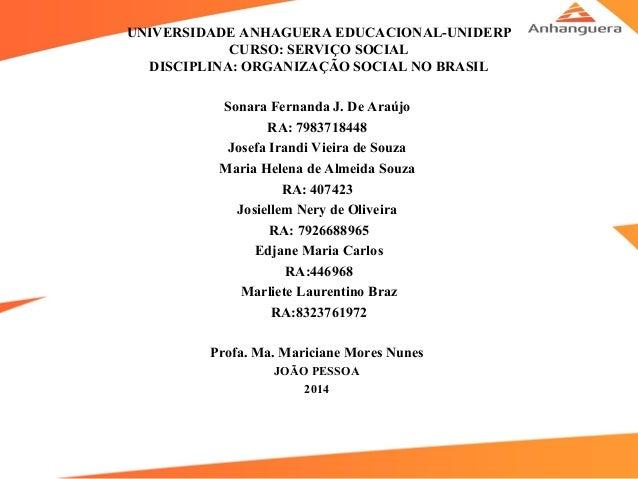 UNIVERSIDADE ANHAGUERA EDUCACIONAL-UNIDERP CURSO: SERVIÇO SOCIAL DISCIPLINA: ORGANIZAÇÃO SOCIAL NO BRASIL Sonara Fernanda ...