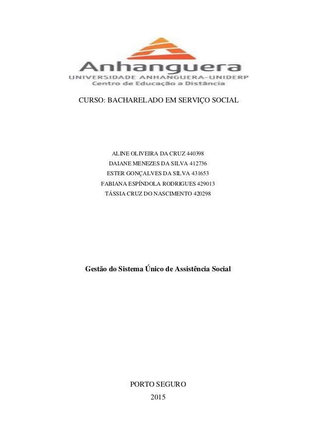 CURSO: BACHARELADO EM SERVIÇO SOCIAL ALINE OLIVEIRA DA CRUZ 440398 DAIANE MENEZES DA SILVA 412736 ESTER GONÇALVES DA SILVA...