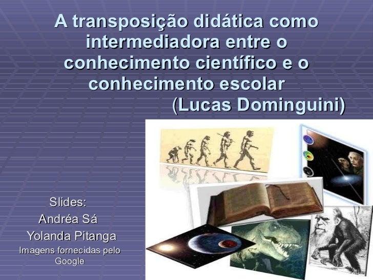 A transposição didática como intermediadora entre o conhecimento científico e o conhecimento escolar   ( Lucas Dominguini)...