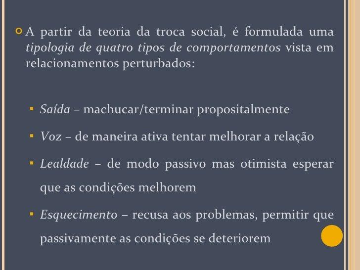 <ul><li>A partir da teoria da troca social, é formulada uma  tipologia de quatro tipos de comportamentos  vista em relacio...