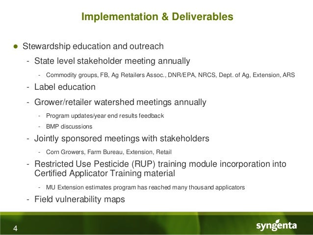Syngenta Crop Protections Watershed Monitoring And Stewardship Progr