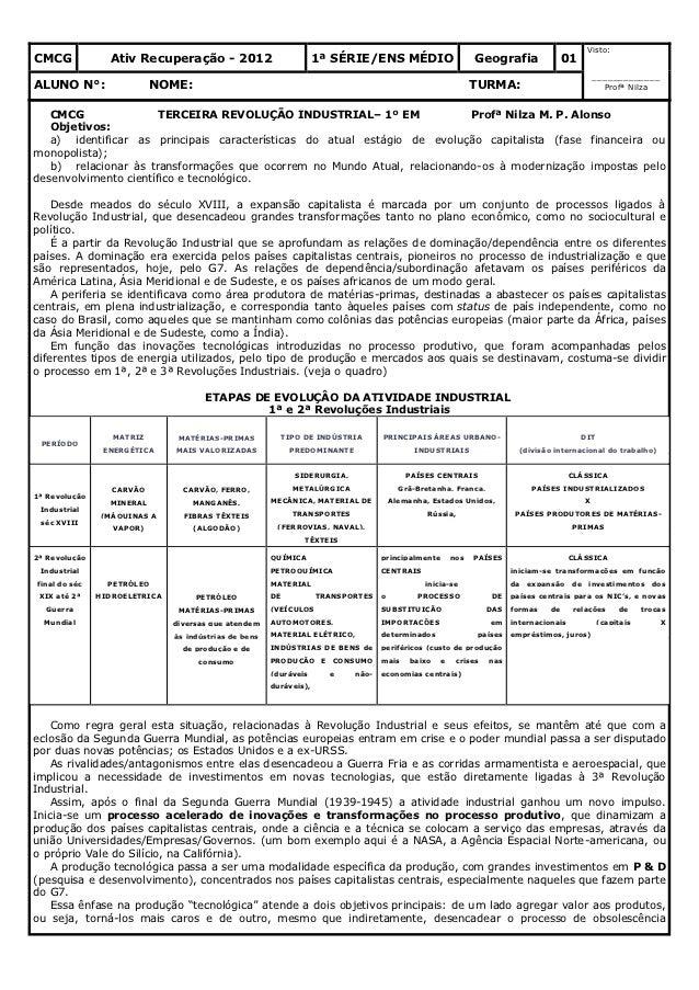 Visto:CMCG             Ativ Recuperação - 2012                            1ª SÉRIE/ENS MÉDIO                       Geograf...