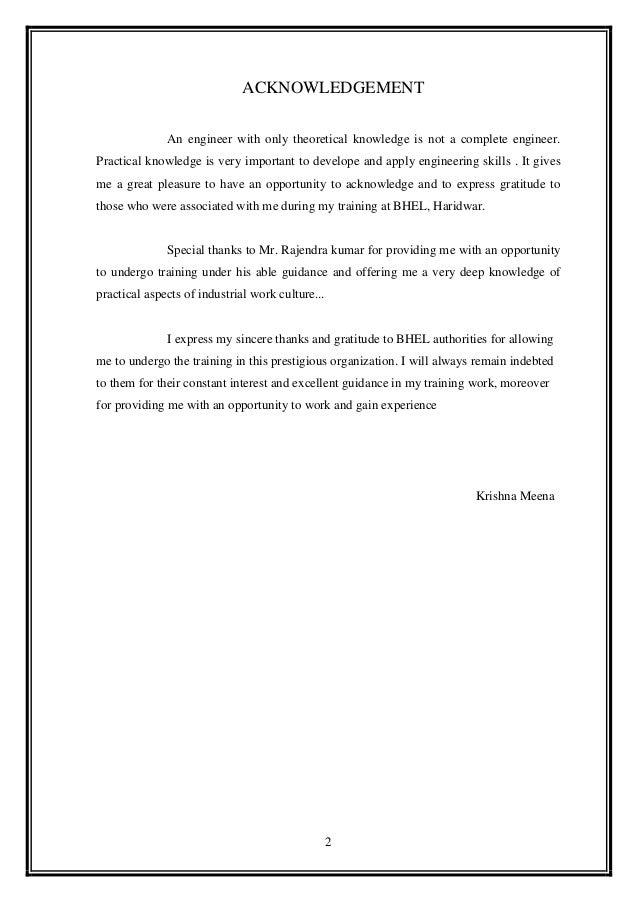 Bhel haridwar summer training report