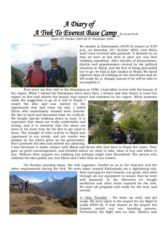 A Diary of               A Trek To Everest Base Camp                                  By Jayant Doshi                     ...