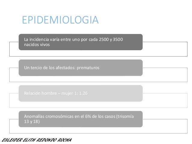 EPIDEMIOLOGIA La incidencia varía entre uno por cada 2500 y 3500 nacidos vivos Un tercio de los afectados: prematuros Rela...