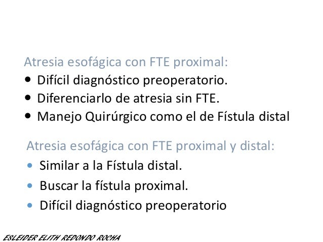 Atresia esofágica con FTE proximal:  Difícil diagnóstico preoperatorio.  Diferenciarlo de atresia sin FTE.  Manejo Quir...