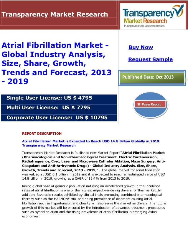 Transparency Market Research  Atrial Fibrillation Market Global Industry Analysis, Size, Share, Growth, Trends and Forecas...