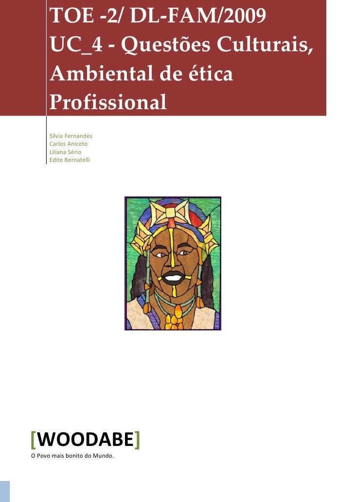 TOE -2/ DL-FAM/2009       UC_4 - Questões Culturais,       Ambiental de ética       Profissional       Sílvia Fernandes   ...