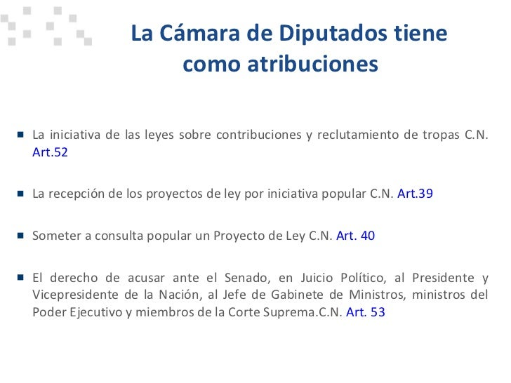 Atribuciones del poder legislativo for Camara de diputados leyes