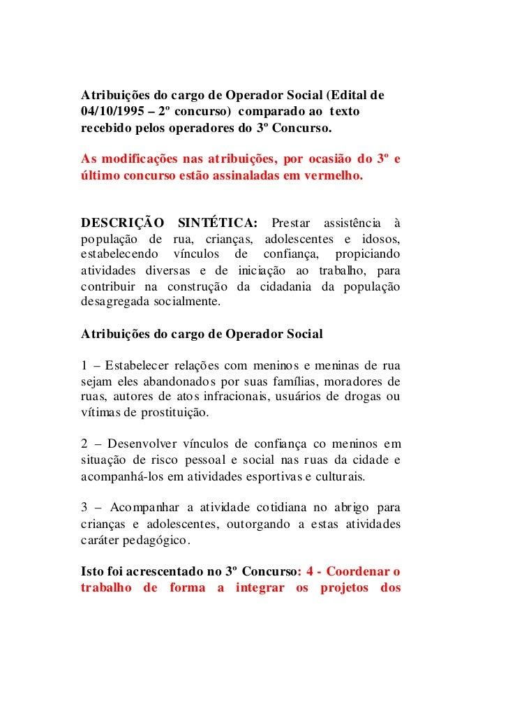 Atribuições do cargo de Operador Social (Edital de 04/10/1995 – 2º concurso) comparado ao texto recebido pelos operadores ...