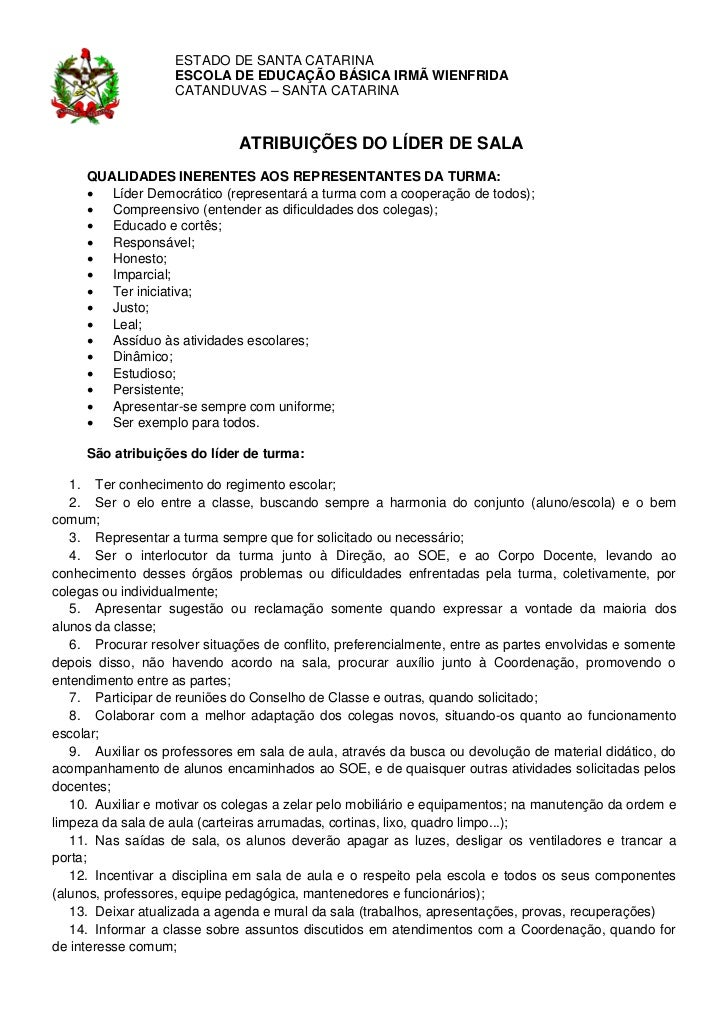 ESTADO DE SANTA CATARINA                    ESCOLA DE EDUCAÇÃO BÁSICA IRMÃ WIENFRIDA                    CATANDUVAS – SANTA...