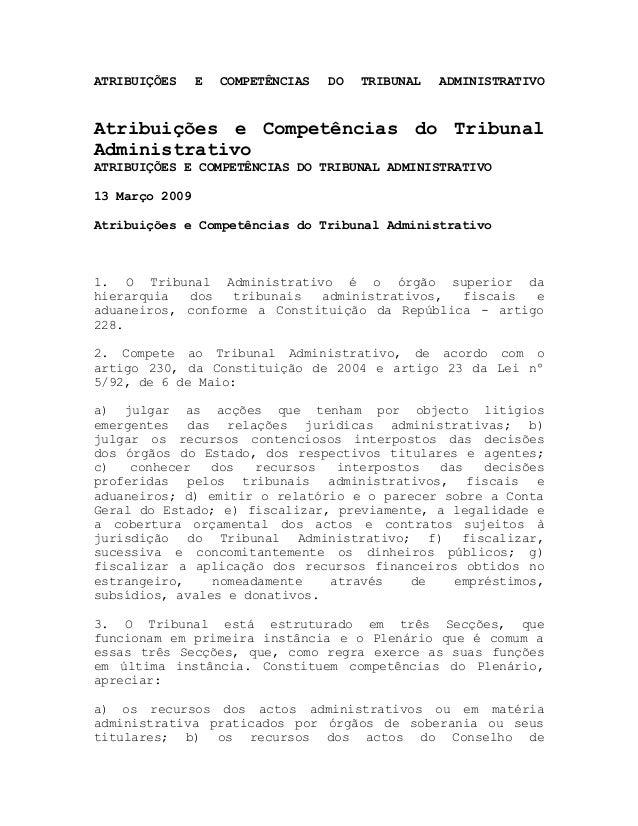 ATRIBUIÇÕES E COMPETÊNCIAS DO TRIBUNAL ADMINISTRATIVOAtribuições e Competências do TribunalAdministrativoATRIBUIÇÕES E COM...