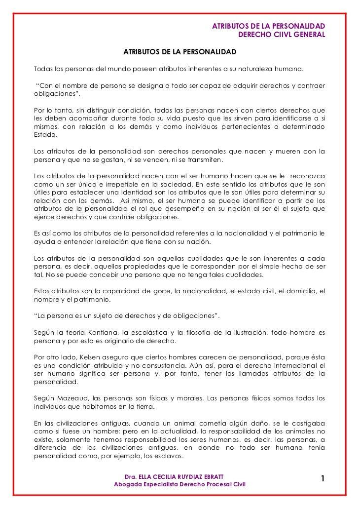 ATRIBUTOS DE LA PERSONALIDAD                                                                 DERECHO CIIVL GENERAL        ...