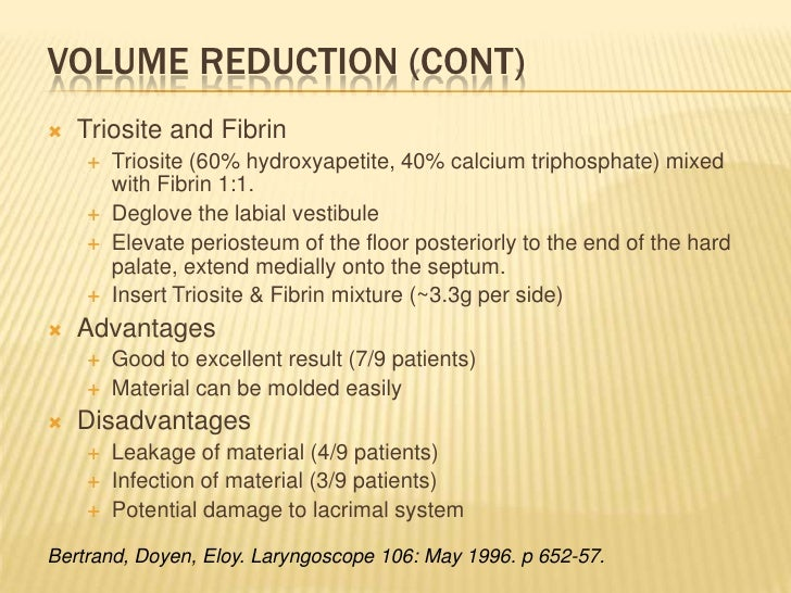 Volume Reduction (cont)<br />Triosite and Fibrin<br />Triosite (60% hydroxyapetite, 40% calcium triphosphate) mixed with F...