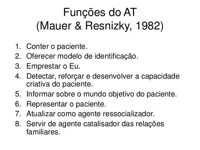 Funções do AT (Mauer & Resnizky, 1982) 1. Conter o paciente. 2. Oferecer modelo de identificação. 3. Emprestar o Eu. 4. De...