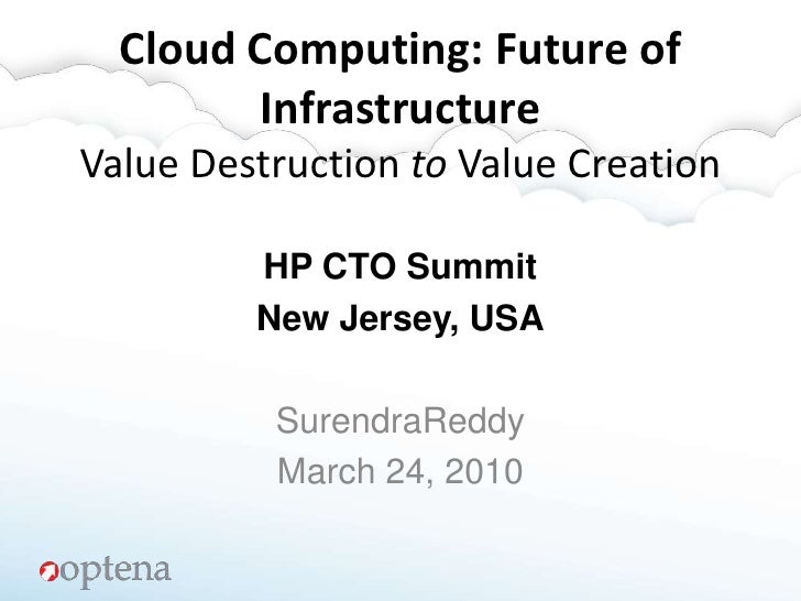 Cloud Computing: Future of  InfrastructureValue Destruction to Value Creation<br />HP CTO Summit<br />New Jersey, USA<br /...
