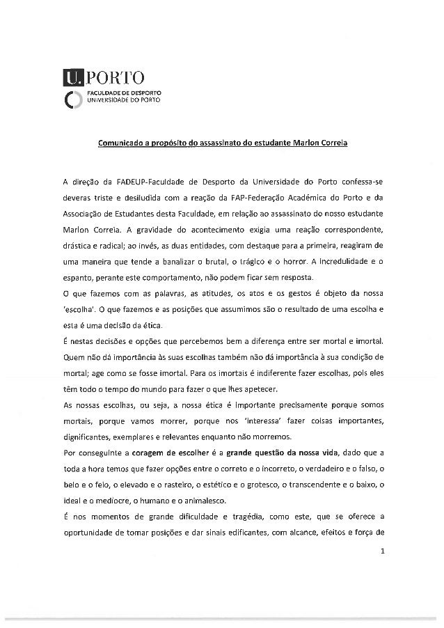 Carta Diretor Faculdade Desporto da UP