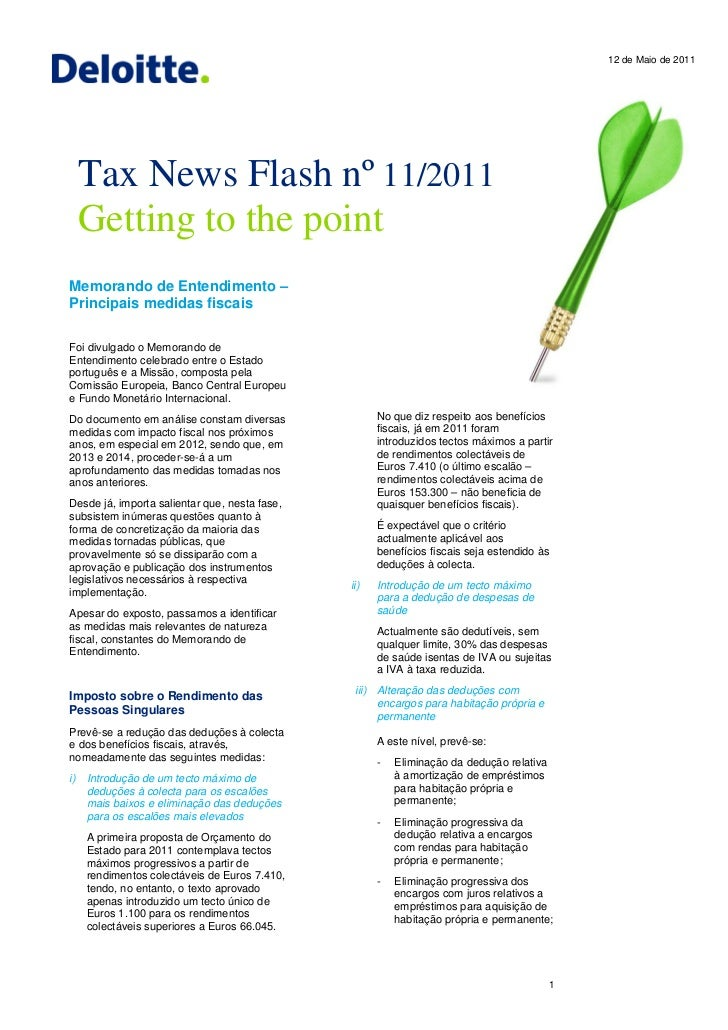 12 de Maio de 2011     Tax News Flash nº 11/2011     Getting to the pointMemorando de Entendimento –Principais medidas fis...