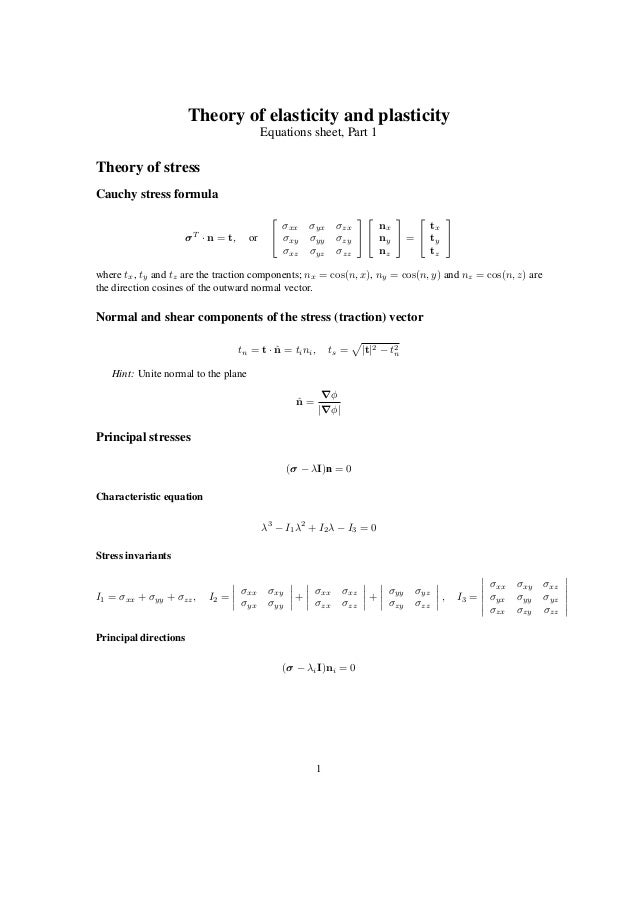 Theory of elasticity and plasticity Equations sheet, Part 1 Theory of stress Cauchy stress formula σT · n = t, or   σxx ...