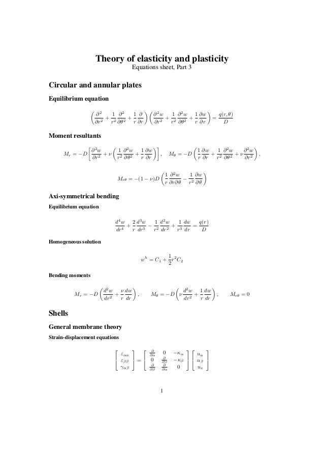 Theory of elasticity and plasticity Equations sheet, Part 3 Circular and annular plates Equilibrium equation ∂2 ∂r2 + 1 r2...