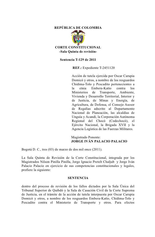 REPÚBLICA DE COLOMBIA                       CORTE CONSTITUCIONAL                         -Sala Quinta de revisión-        ...