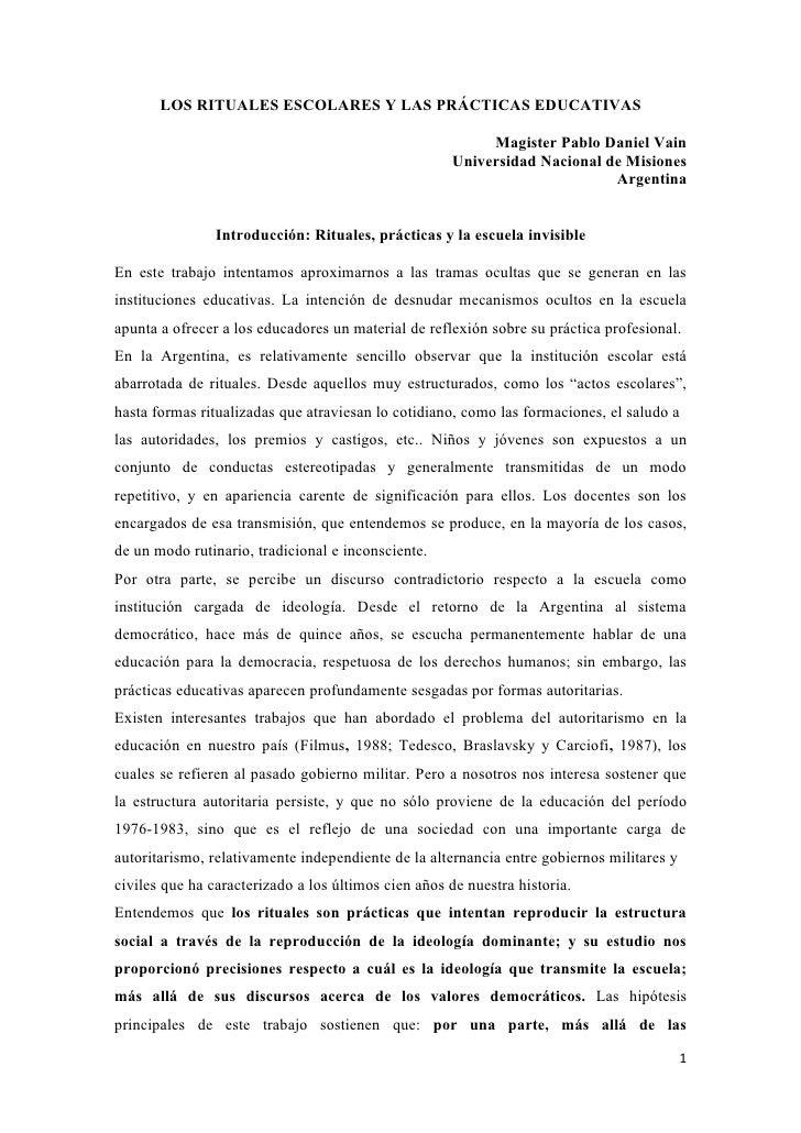 LOS RITUALES ESCOLARES Y LAS PRÁCTICAS EDUCATIVAS                                                          Magister Pablo ...