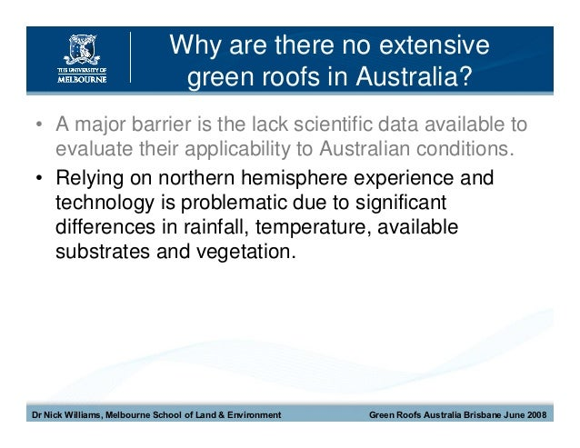 Green Roofs For A Wide Brown Land The University Of