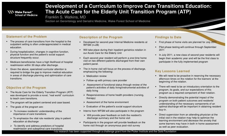 Development of a Curriculum to Improve Care Transitions Education:                                    The Acute Care for t...