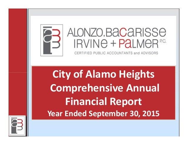 CityofAlamoHeights ComprehensiveAnnual FinancialReport YearEndedSeptember30,2015