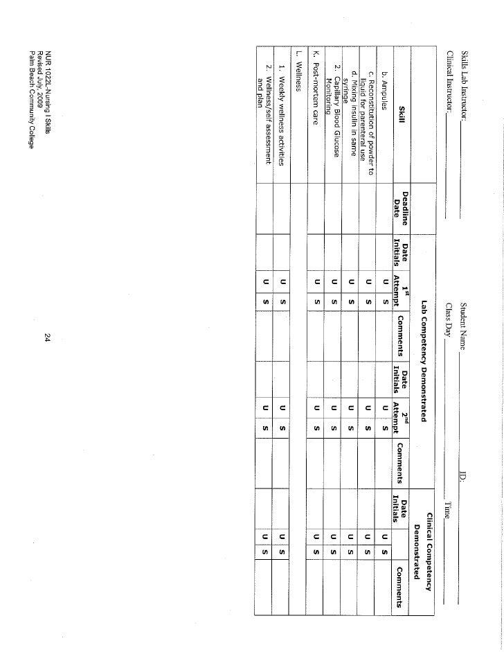 Attachment  C  Skills  Checklist,  Sem 1