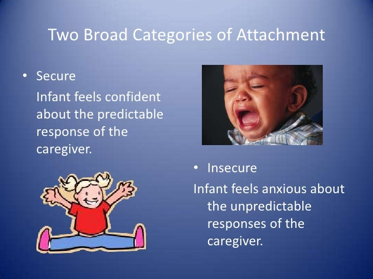 Two Broad Categories of Attachment<br />Secure<br />Infant feels confident about the predictable response of the caregive...