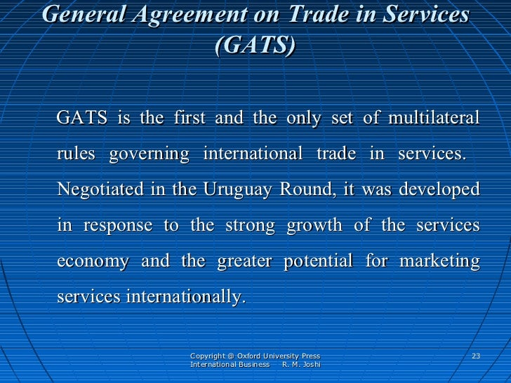 Wto notes general agreement on trade in services platinumwayz