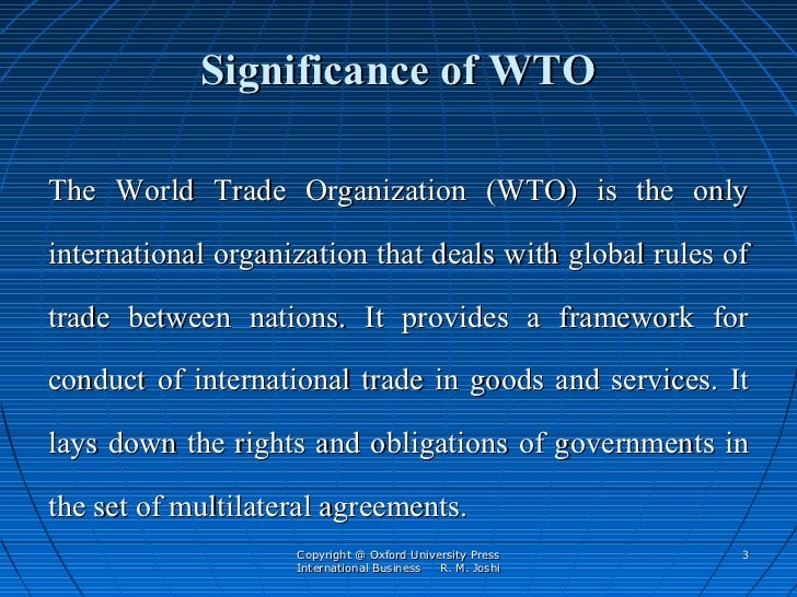write a note on wto