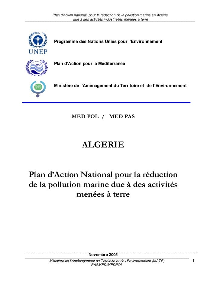Plan d'action national pour la réduction de la pollution marine en Algérie                   due à des activités industrie...