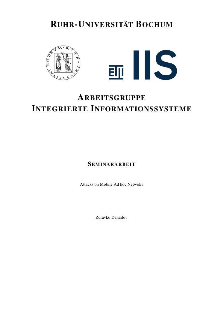 RUHR -U NIVERSITÄT B OCHUM          A RBEITSGRUPPEI NTEGRIERTE I NFORMATIONSSYSTEME            S EMINARARBEIT         Atta...