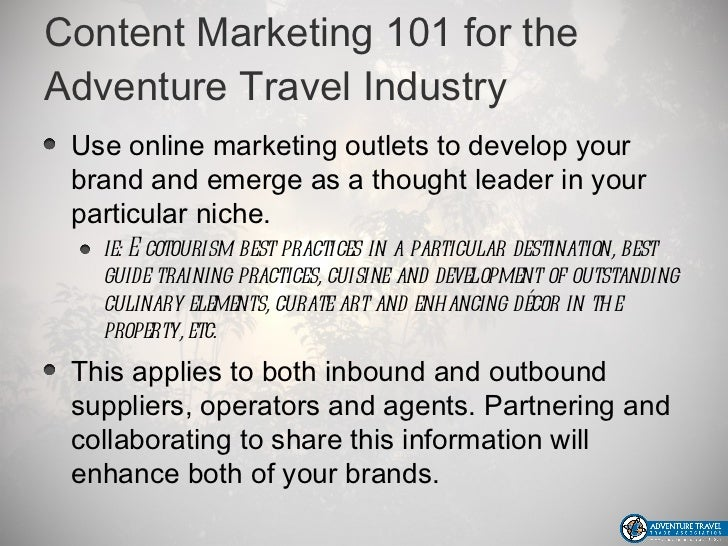 marketing strategy in the tourism industry Hospitality and tourism is one of the the use of mobile devices is on the rise and the situation is no different for the tourism industry the major reason hospitality and tourism companies are so successful at adapting digital marketing strategies is because they carefully.