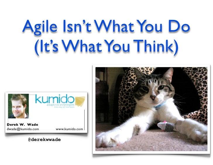 Agile Isn't What You Do         (It's What You Think)    Derek W. Wade dwade@kumido.com   www.kumido.com            @derek...