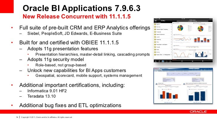 Oracle BI Applications 7.9.6.3               New Release Concurrent with 11.1.1.5•        Full suite of pre-built CRM and...