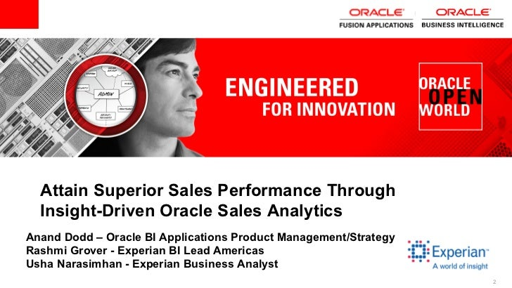 Attain Superior Sales Performance Through  Insight-Driven Oracle Sales AnalyticsAnand Dodd – Oracle BI Applications Produc...