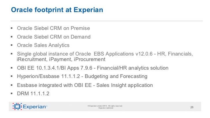 Oracle footprint at Experian§ Oracle Siebel CRM on Premise§ Oracle Siebel CRM on Demand§ Oracle Sales Analytics§ S...