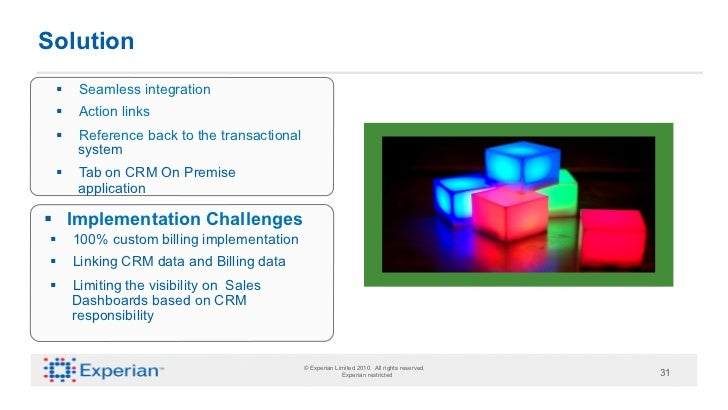 Solution  §    Seamless integration  §    Action links  §    Reference back to the transactional         system  §...
