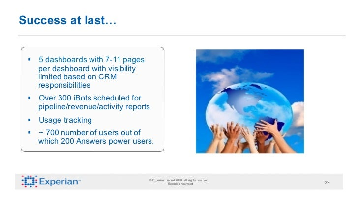 Success at last… § 5 dashboards with 7-11 pages     per dashboard with visibility     limited based on CRM     responsib...