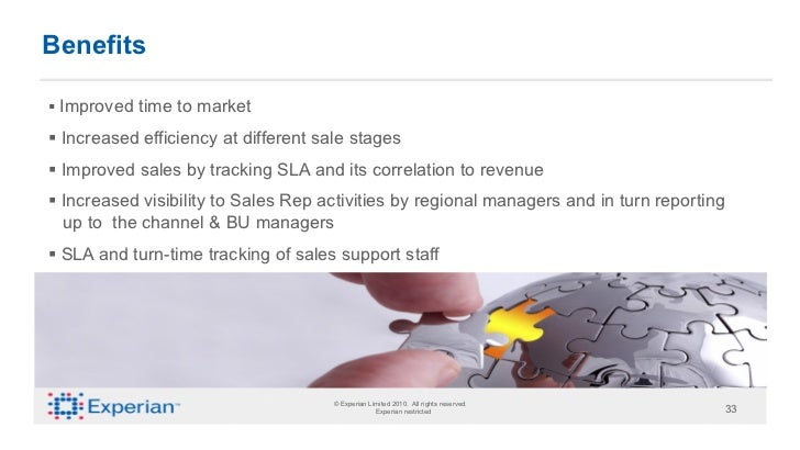 Benefits§ Improved time to market§ Increased efficiency at different sale stages§ Improved sales by tracking SLA and...