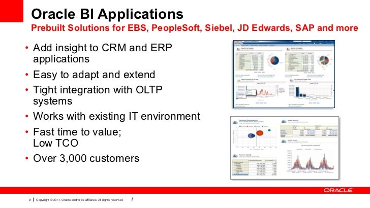 Oracle BI Applications Prebuilt Solutions for EBS, PeopleSoft, Siebel, JD Edwards, SAP and more• Add insight to CRM and E...