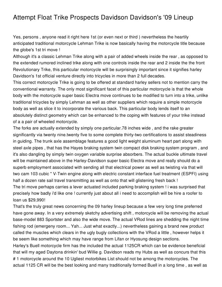 Attempt Float Trike Prospects Davidson Davidsons 09 LineupYes, persons , anyone read it right here 1st (or even next or th...