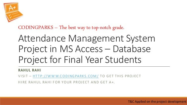 Attendance management system project in ms access – database