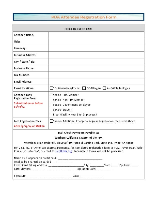 Attendee Registration Form Pda May 2014