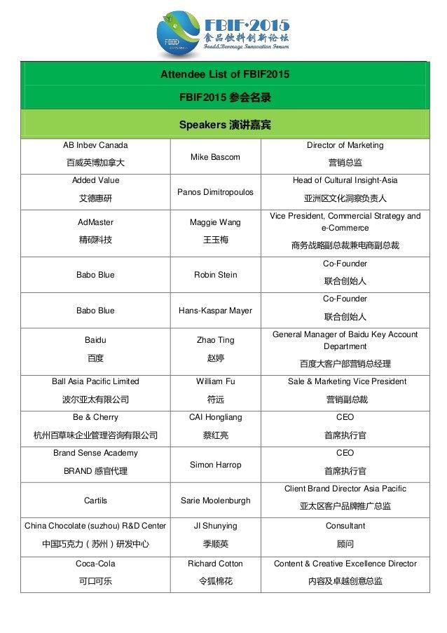 Attendee List of FBIF2015 FBIF2015 参会名录 Speakers 演讲嘉宾 AB Inbev Canada 百威英博加拿大 Mike Bascom Director of Marketing 营销总监 Added...