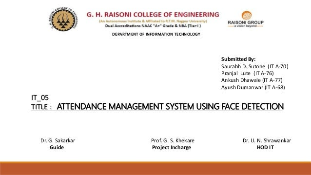 Attendence management system using face detection